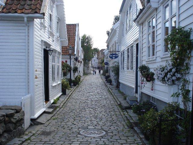 Noorwegen - Bergen - witte huizen