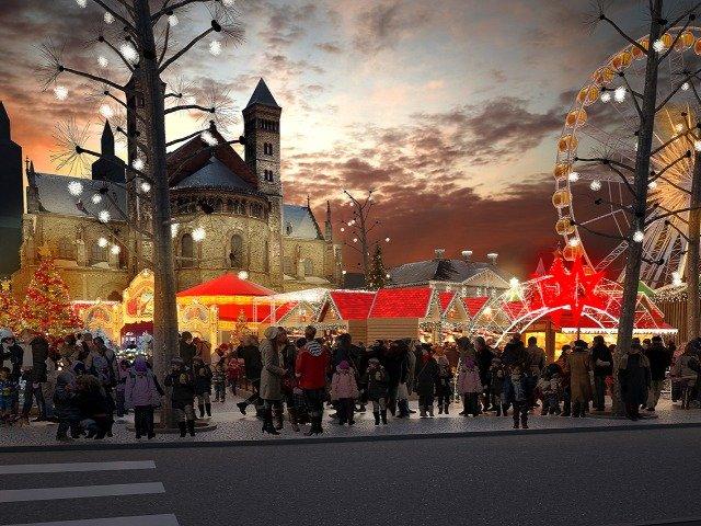 Nederland - Maastricht, kerstmarkt op het Vrijthof