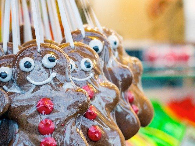 Gingerbread men op de kerstmarkt