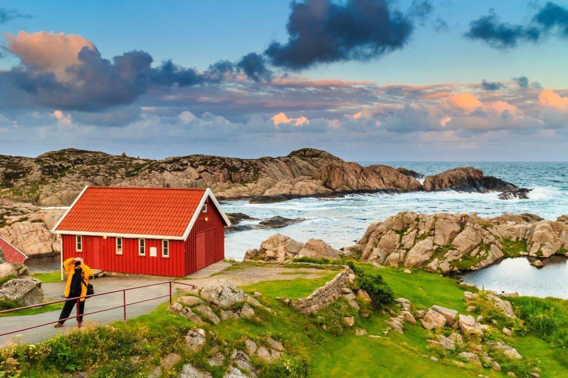 Noorwegen - kust de Lindesnes vuurtoren