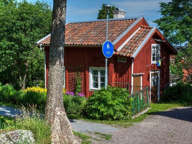 Zweden - Askersund - typische houten huis