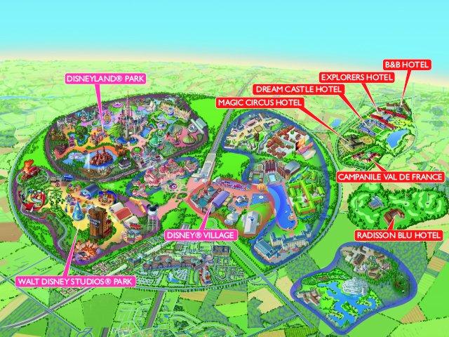 Disneyland Paris - kaart selected en aangesloten hotels