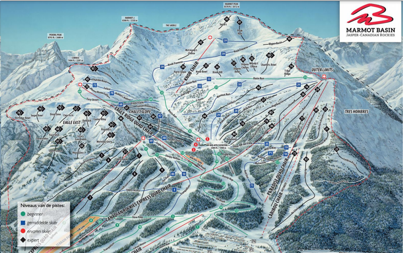 Plattegrond skigebied Marmot Basin Jasper